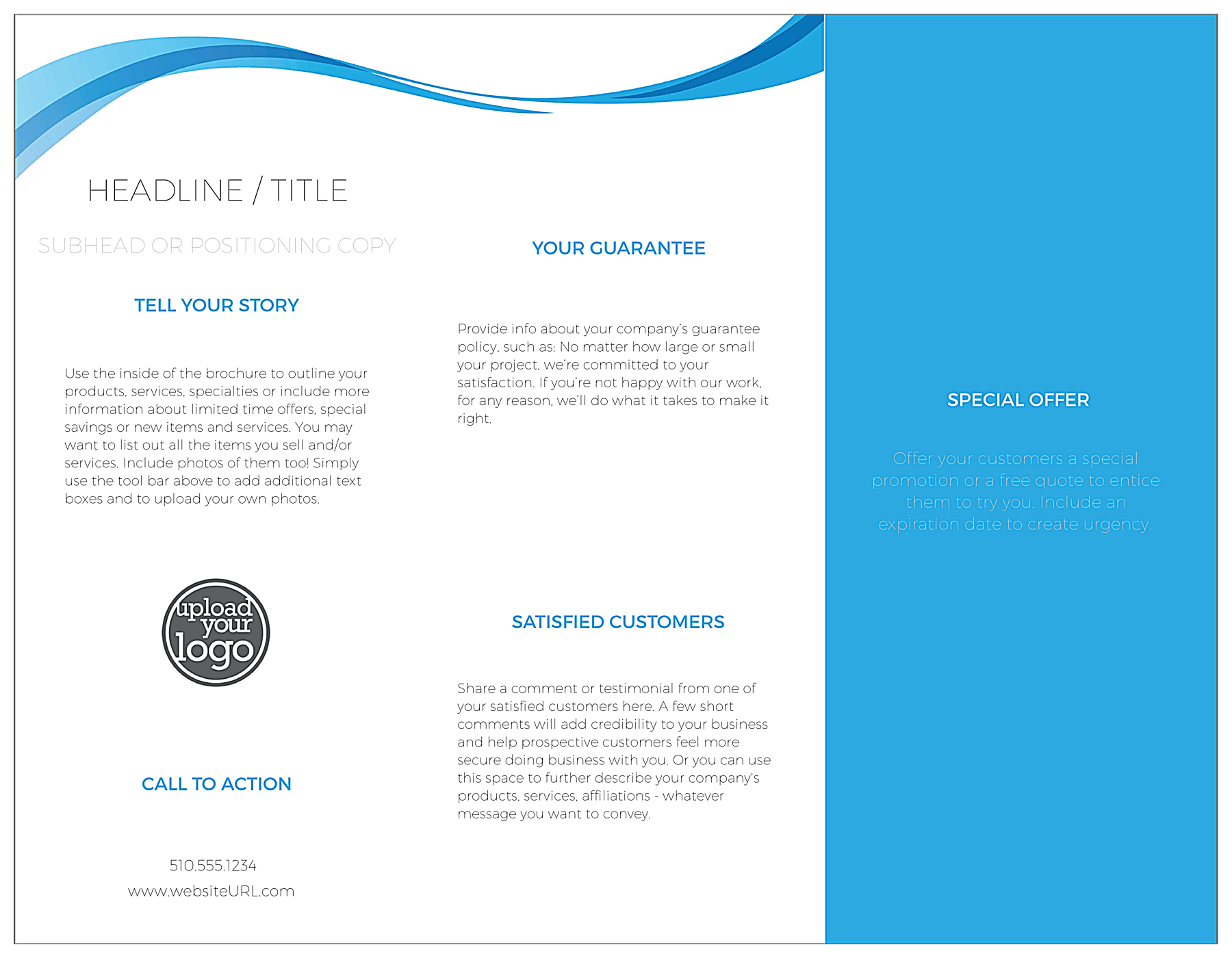 Blue Flowing Line back - Brochures Maker