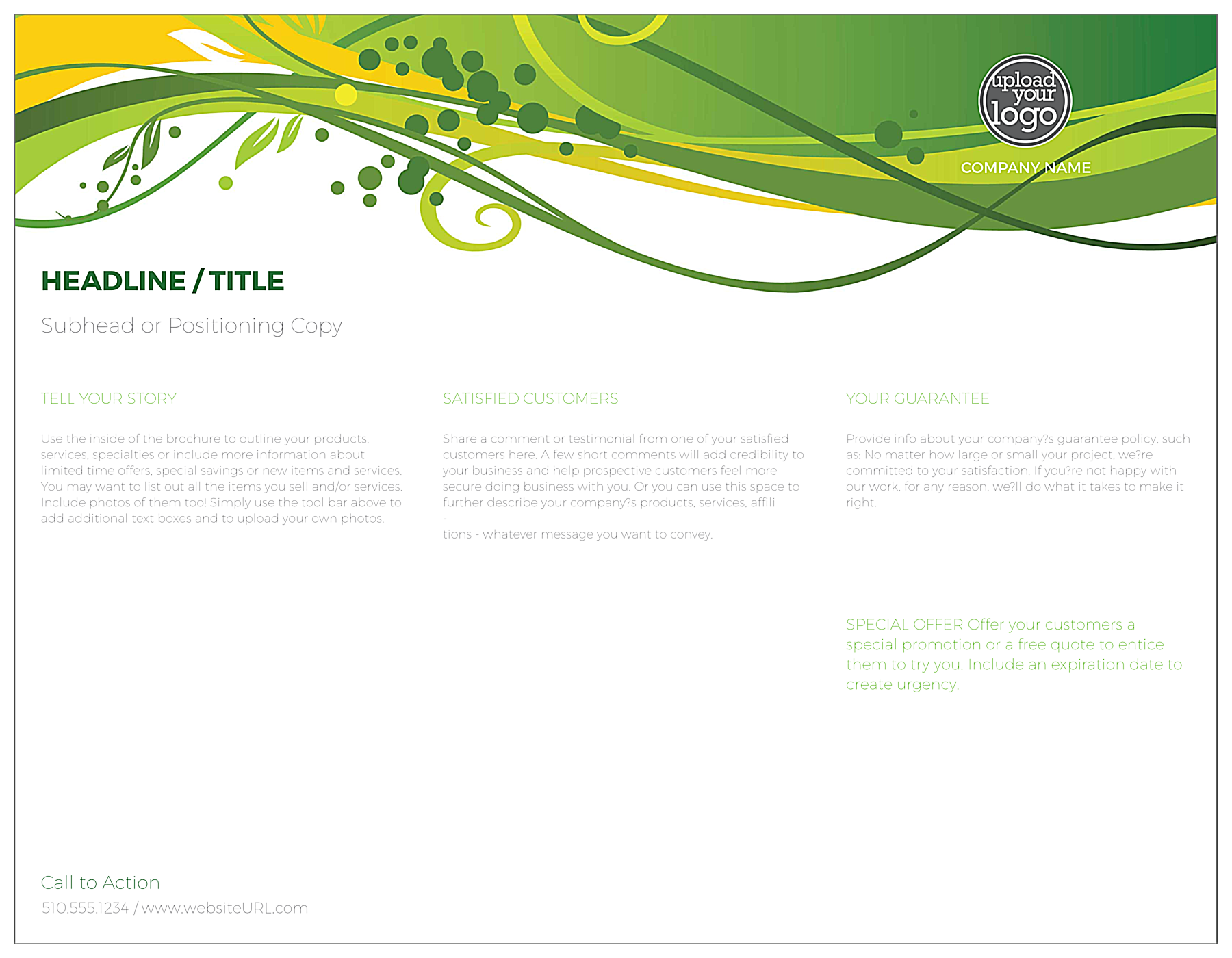 Green Floral Flow back - Brochures Maker