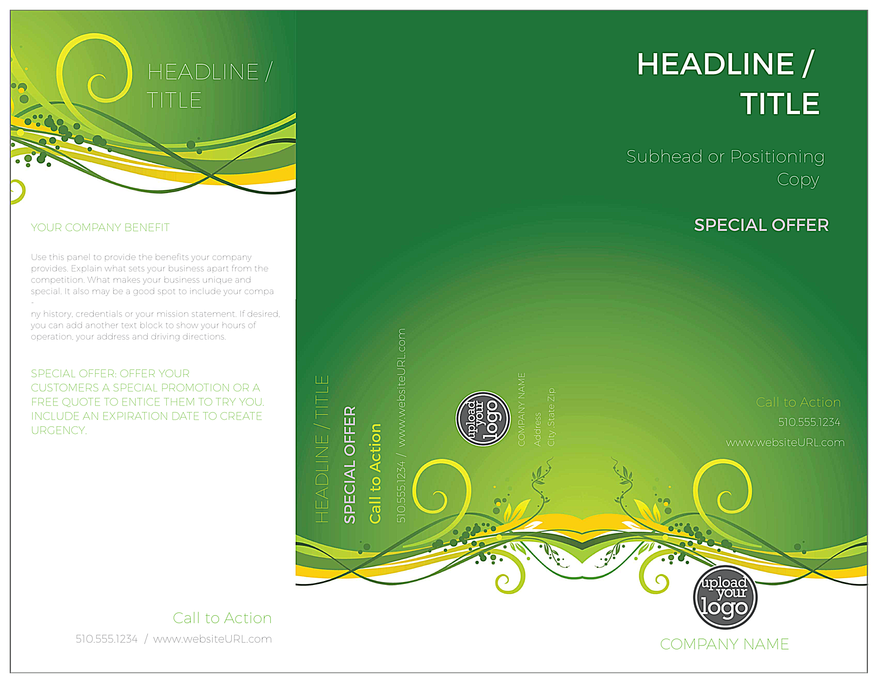Green Floral Flow front - Brochures Maker