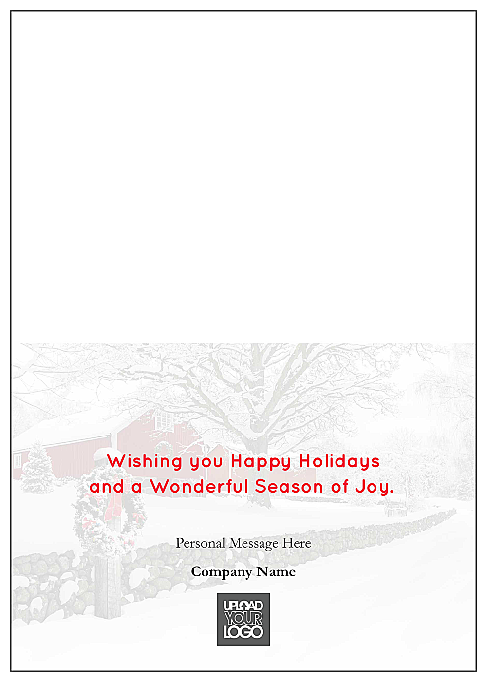 Snowy Season's Greetings back - Greeting Cards Maker
