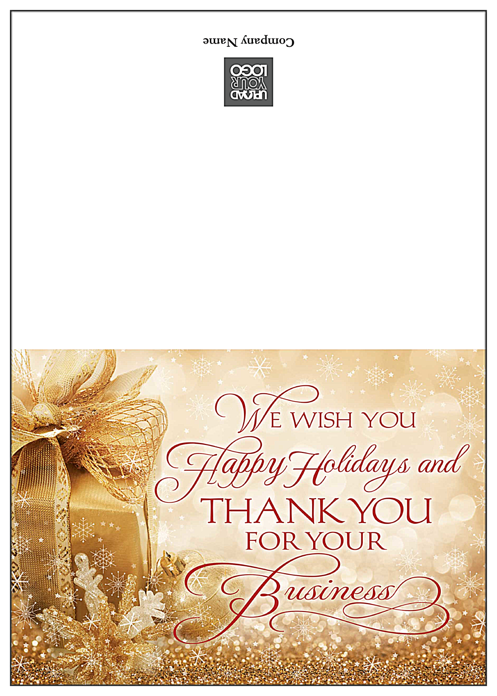 Golden Happy Holidays front - Greeting Cards Maker