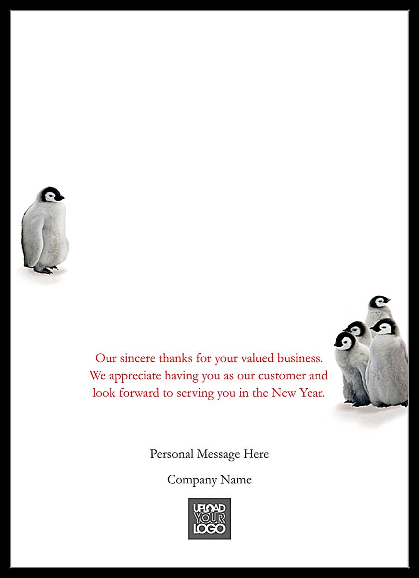 Holiday Penguins back - Greeting Cards Maker