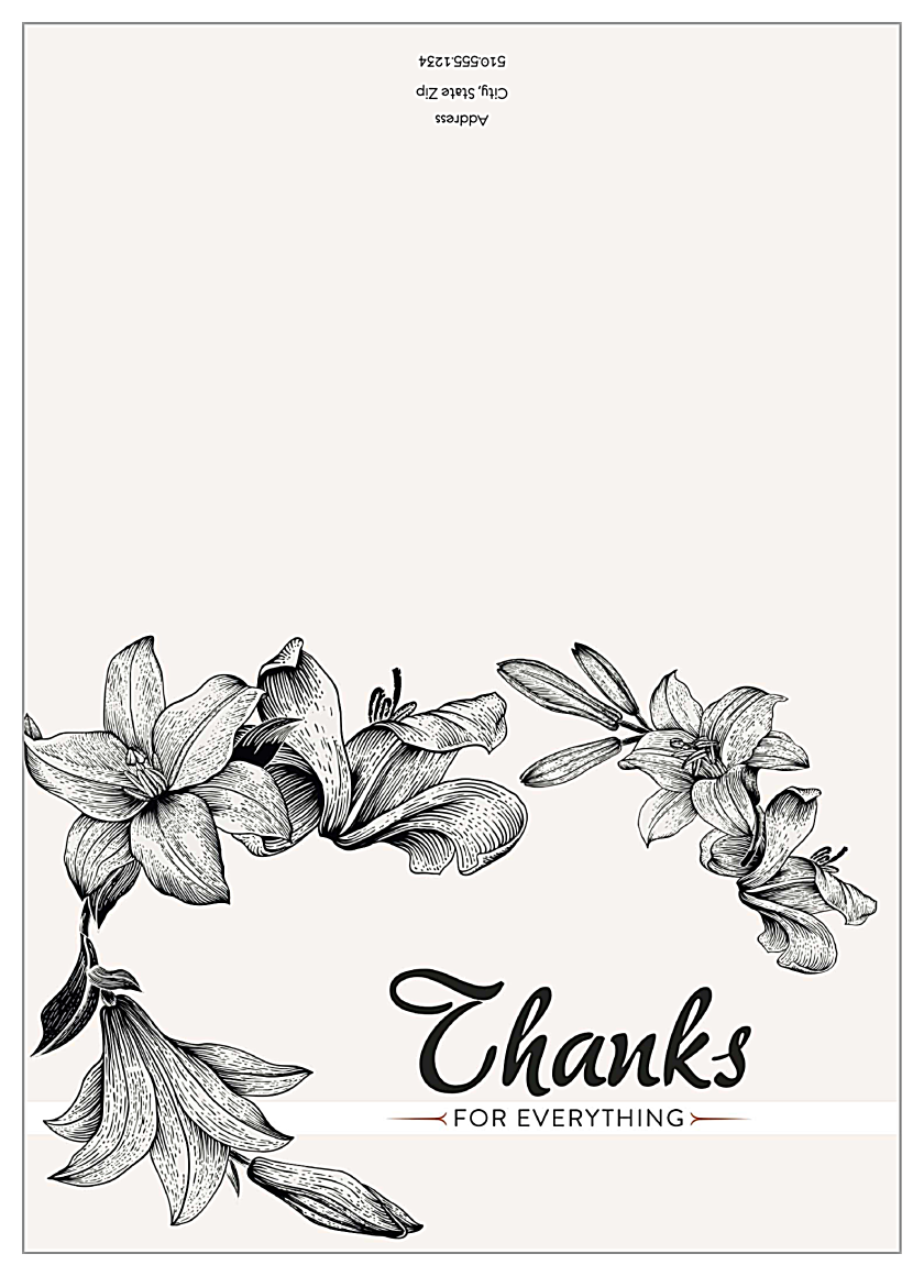 Lily Flower Thanks front - Greeting Cards Maker