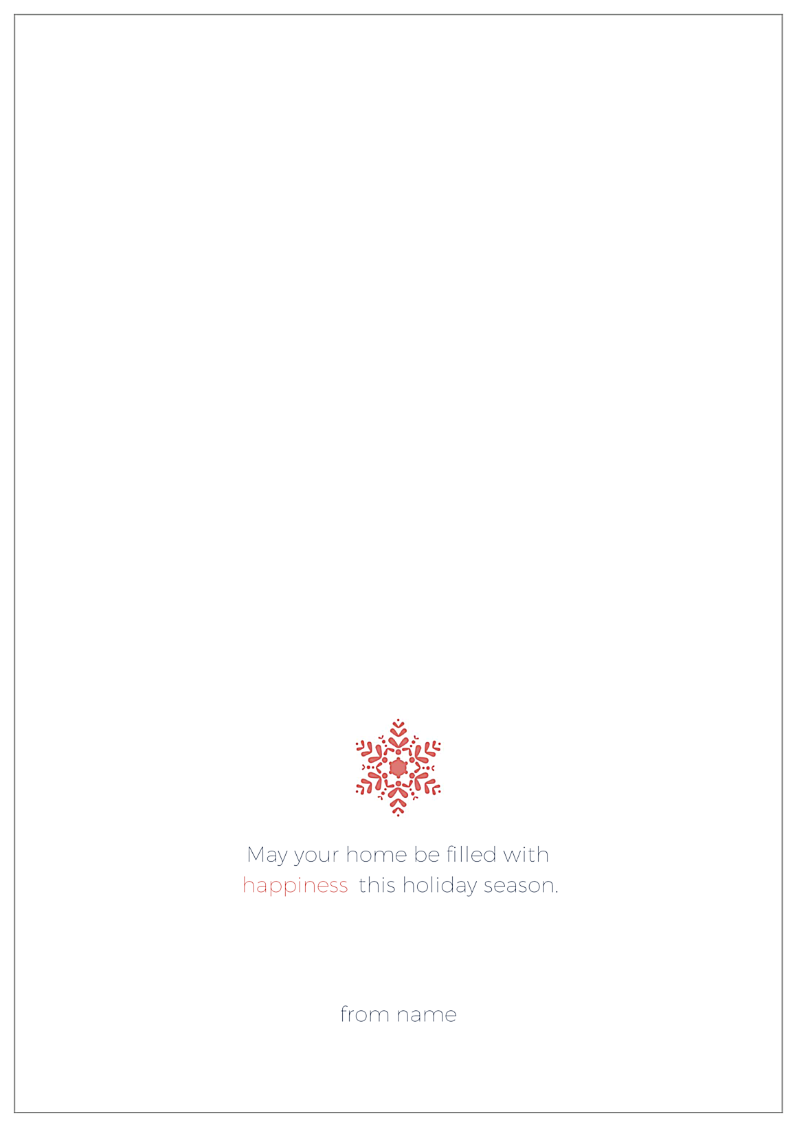 Holiday snowflake back - Greeting Cards Maker
