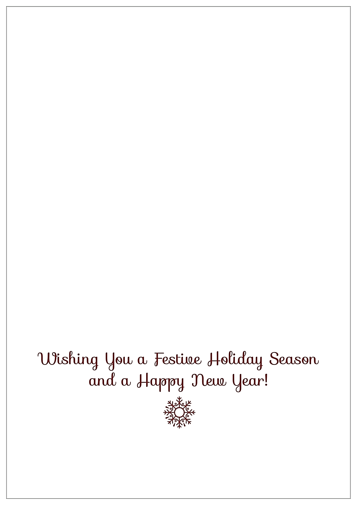 Holiday Flakes back - Greeting Cards Maker