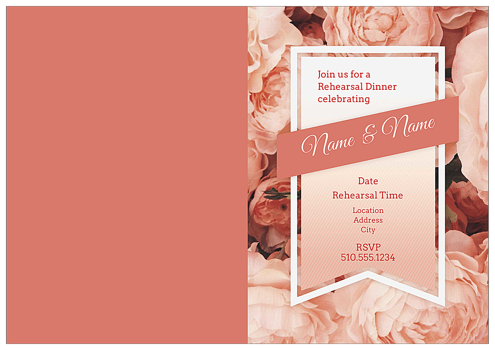 Bouquet and Ribbon front - Greeting Cards Maker