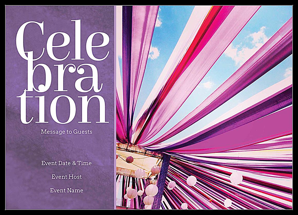 Free Ribbon Celebration Invitation Card Design Templates front - Invitation Cards Maker