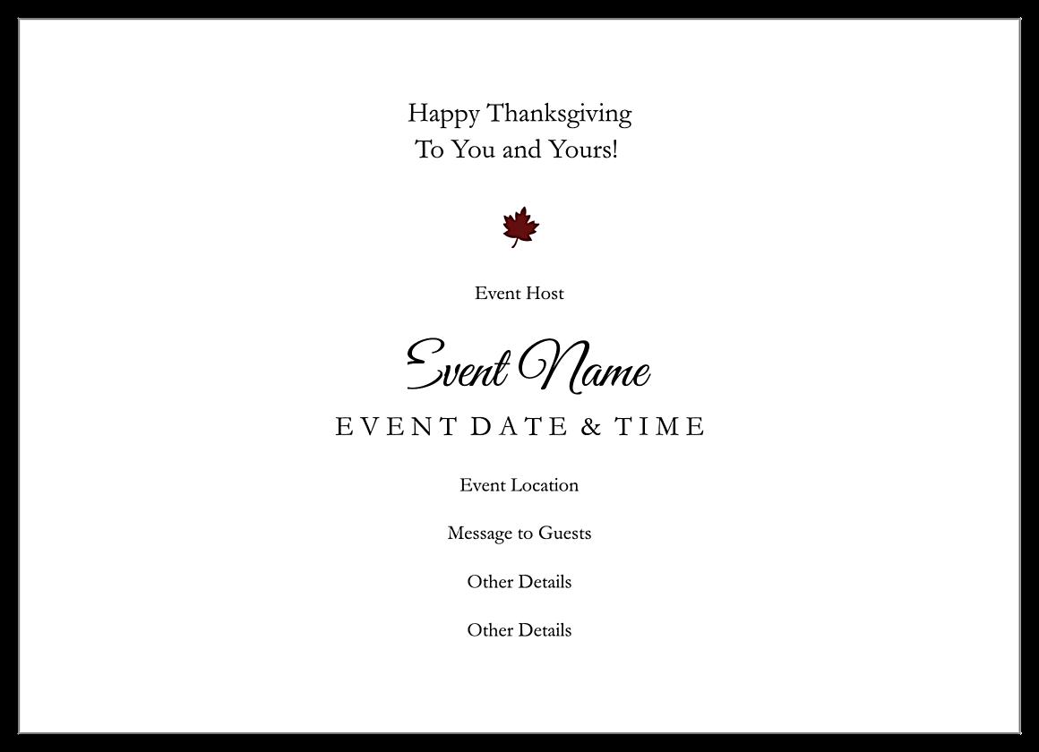 Seasonal Thanksgiving back - Invitation Cards Maker