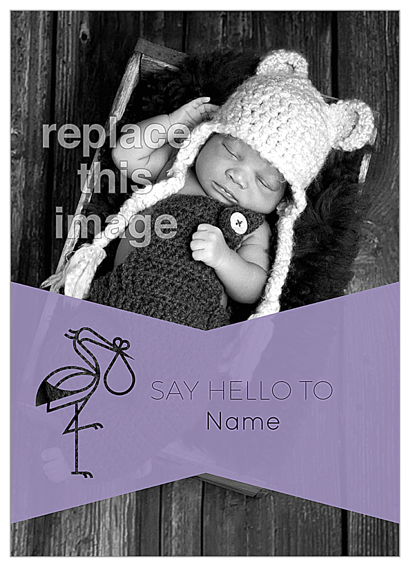 Say Hello Stork front - Invitation Cards Maker